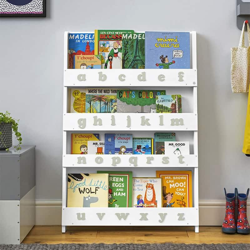 Children's bookcases, Tidy Books, Tidy Books Children Bookcases, kids bookcases, Tidy Books Alphabet Bookcase White Provence Grey Alphabet