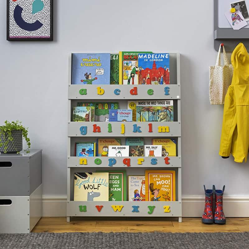 Children's bookcases, Tidy Books, Tidy Books Children Bookcases, kids bookcases, Tidy Books Alphabet Bookcase Dark Grey Colour Alphabet